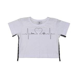 T shirt teen feminina com cadarço lateral Branco