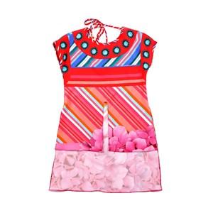 Túnica Infantil Feminina Em Crepe Com Ponteiras Douradas Nos Cadarços - 1+1 Pink