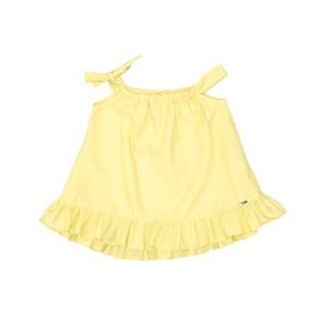 Vestido Babado Com Faixa Laço No Decote Amarelo Canario