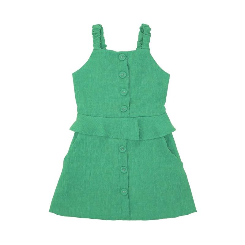 Vestido Babado Na Cintura Com Botões Verde