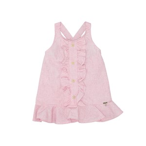 Vestido Babados Com Botões Frontais Alças Transpassadas Pink
