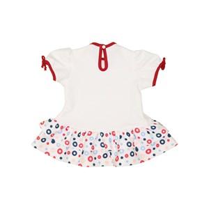 Vestido baby manga curta barra com bolinhas CRU