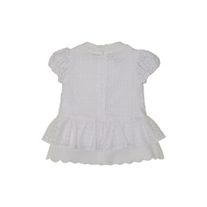 Vestido baby manga curta bufante em neoprene com lese Branco