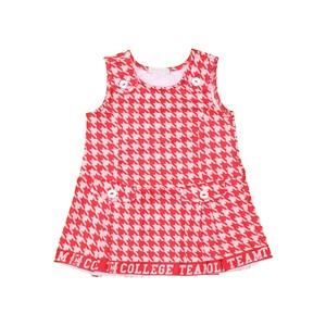 Vestido baby pied de poule com pregas e barra em cadarço Vermelho