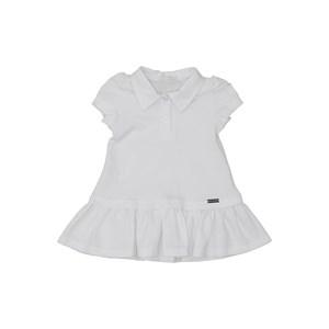 Vestido baby polo manga curta em piquet com saia rodada Branco