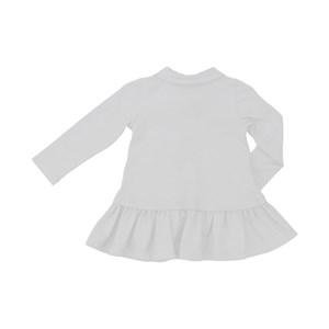 Vestido baby polo manga longa em piquet com saia rodada Branco