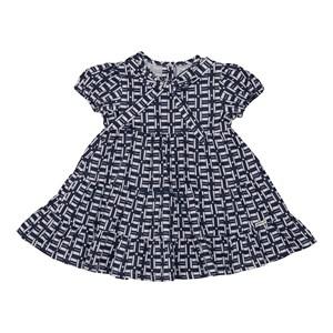 Vestido baby quadriculado recortes franzidos Marinho