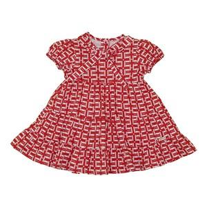Vestido baby quadriculado recortes franzidos Vermelho