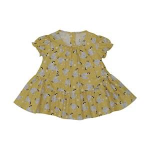 Vestido baby rodado estampa de galinha Amarelo Canário