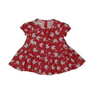 Vestido baby rodado estampa de galinha Vermelho