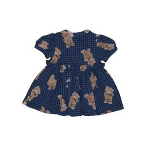 Vestido baby rodado manga curta bufante com estampa de ursinho Marinho