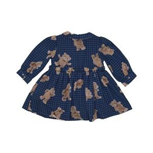Vestido baby rodado manga longa bufante com estampa de ursinho Marinho