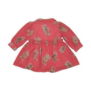 Vestido baby rodado manga longa bufante com estampa de ursinho Vermelho