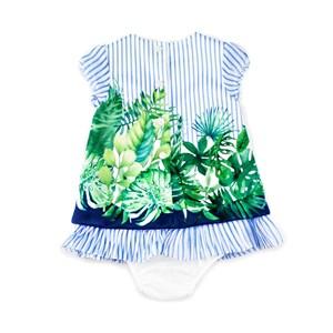 Vestido / Calcinha Infantil / Baby Em Chiffon Com Forro De Poliéster - 1+1 Azul Claro