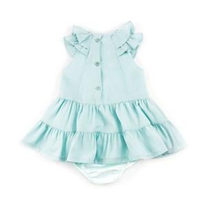 Vestido / Calcinha Infantil / Baby Em Crepe Com Lycra E Forro De Tricoline Com Poliéster - 1+1 Verde Agua