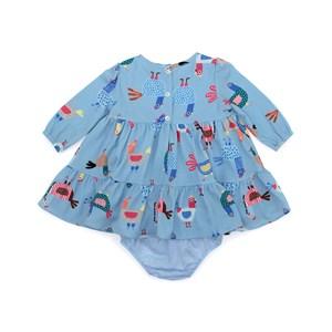 Vestido / Calcinha Infantil / Baby Em Crepe Com Lycra Estampado  - Um Mais Um Azul Claro