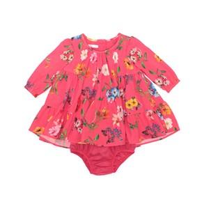 Vestido / Calcinha Infantil / Baby Em Crepe Com Lycra Estampado  - Um Mais Um Goiaba