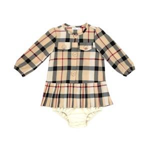 Vestido / Calcinha Infantil / Baby Em Crepe Com Lycra Xadrez - Um Mais Um Bege Claro