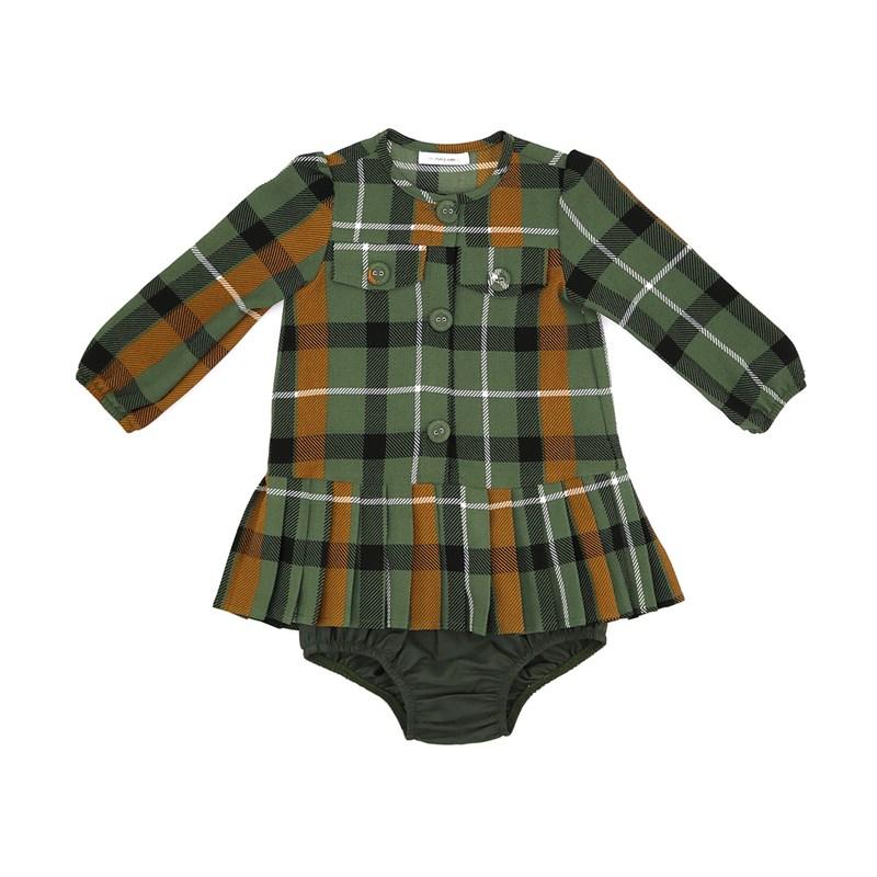 Vestido / Calcinha Infantil / Baby Em Crepe Com Lycra Xadrez - Um Mais Um Verde