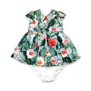 Vestido / Calcinha Infantil / Baby Em Gorgurão Com Sarja Acetinada E Forro De Poliéster - 1+1 Verde