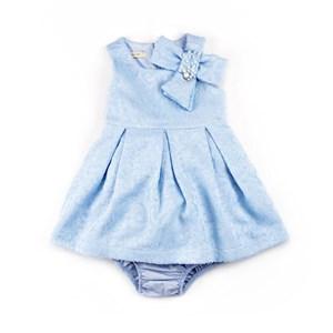 Vestido / Calcinha Infantil / Baby Em Jacquard Com Forro De Organza Engomada - 1+1 Azul Claro