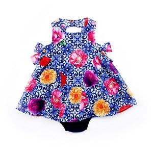 Vestido / Calcinha Infantil / Baby Em Jacquard Quadriculado Com Forro De Poliéster - 1+1 Marinho