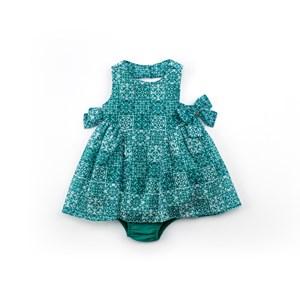 Vestido / Calcinha Infantil / Baby Em Jacquard Quadriculado Com Forro De Poliéster - 1+1 Verde