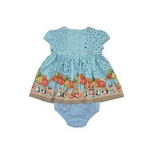 Vestido / Calcinha Infantil / Baby Em Malha Jacquard Estampado - Um Mais Um Azul Claro