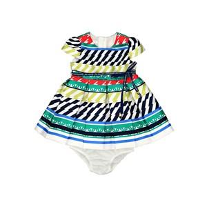 Vestido / Calcinha  Infantil / Baby Em Zibeline Sarja Acetinada Estampado Com Detalhe Em Cadarço   - Verde