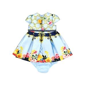 Vestido / Calcinha  Infantil / Baby Em Zibeline Sarja Acetinada Estampado Com Detalhe Em Cadarço   - Azul Claro
