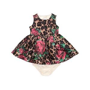 Vestido / Calcinha Infantil / Baby Em Zibeline Sarja Acetinada Estampado- Um Mais Um Onca