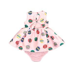 Vestido / Calcinha Infantil / Baby Em Zibeline Sarja Acetinada Estampado- Um Mais Um Rosa Claro