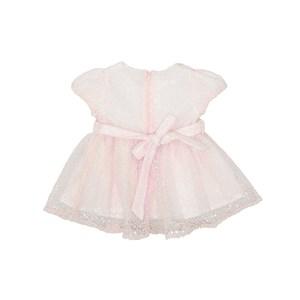 Vestido Calcinha Manga Balone Saia Franzida Com Cinto Rosa Claro
