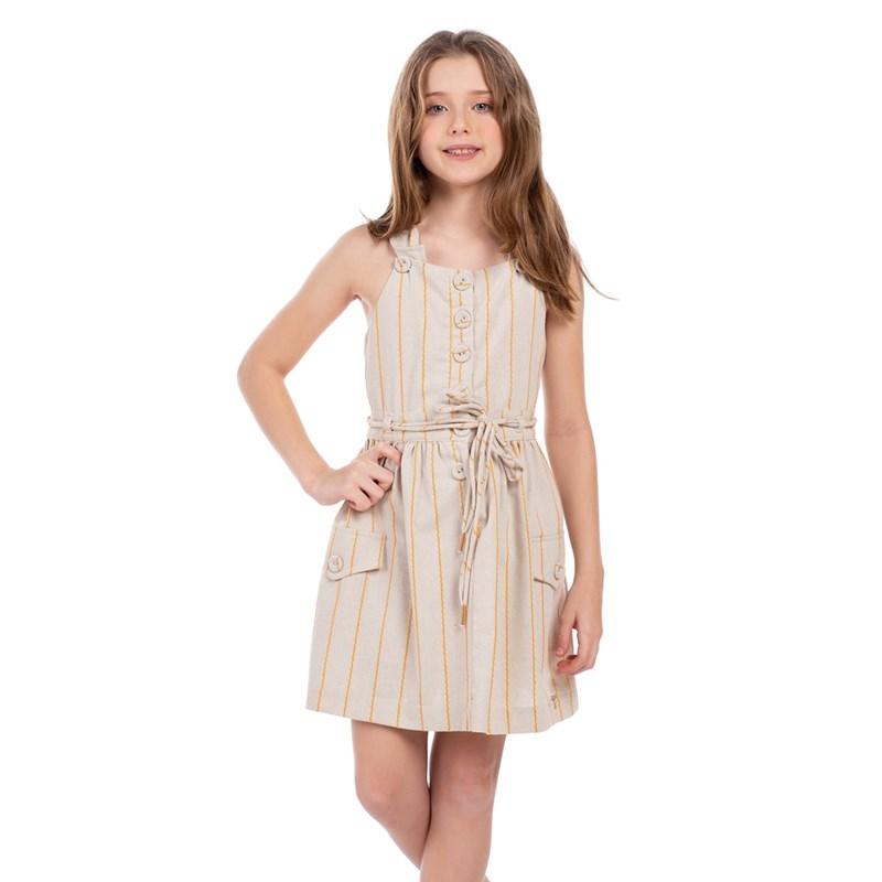 Vestido Com Alças Transpassadas E Saia Franzida Mostarda