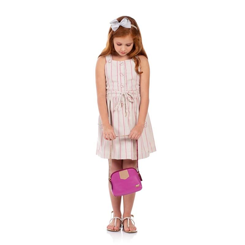 Vestido Com Alças Transpassadas E Saia Franzida Pink