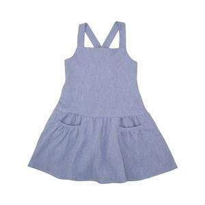 Vestido Com Bolsos Frontais Alças De Amarração Trazeira Azul