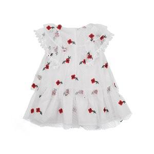 Vestido Com Calcinha Infantil / Baby Em Tule Bordado Com Flores - 1+1 Branco