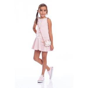 Vestido De Alças Com Argolas Com Saia Godê Rosa Claro