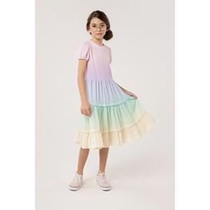 Vestido degrade multicolorido com recortes franzidos e manguinha balone MULTCOLORIDO