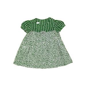 Vestido Evasê Com Mangas Balonê E Pregas Verde