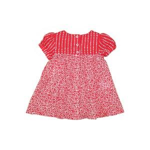 Vestido Evasê Com Mangas Balonê E Pregas Vermelho