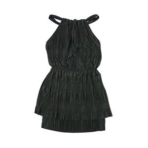 Vestido Feminino Infantil / Teen Em Jersy Acetinada Plissado C/Lycra E Alça E Forro C/Jersy Liso  - Preto