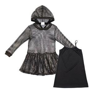 Vestido Feminino Infantil / Teen Vestido Em Tela C/Lycra C/Foil E Acabamento De Retilinea No Punho, Preto