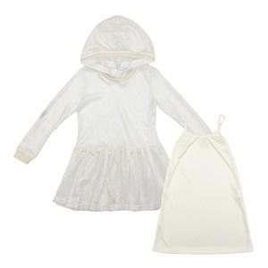 Vestido Feminino Infantil / Teen Vestido Em Tela C/Lycra C/Foil E Acabamento De Retilinea No Punho, Cru