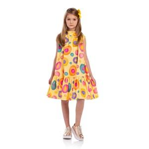 Vestido Forma A Com Gola Dupla Franzida Amarelo Canario