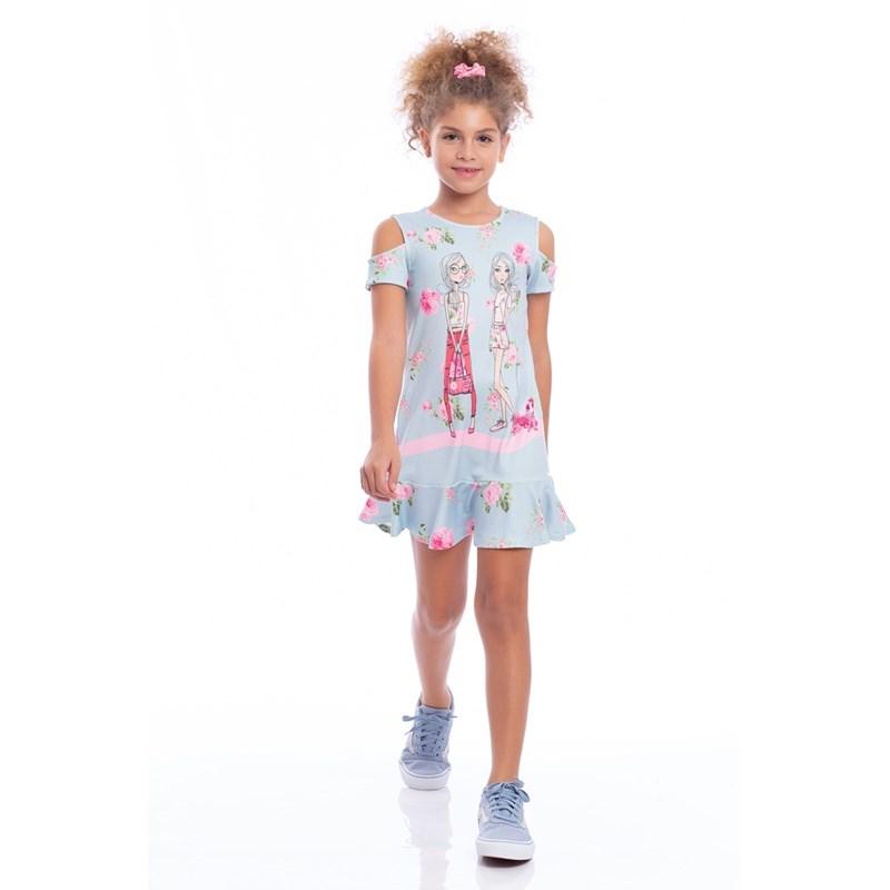 Vestido Forma A Infantil Com Barrado Godê Azul Claro