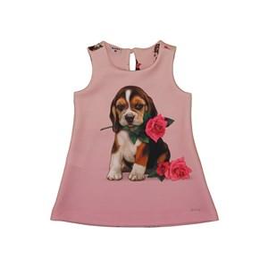 """Vestido Forma """"A"""" Neoprene Com Estampa De Cachorrinho E Rosas Rosa Claro"""