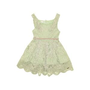 Vestido Infantil Alças De Laço E Conto De Cadarço Com Ponteiras Verde