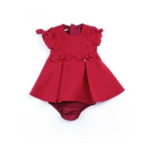 Vestido infantil / baby com pingente em crepe com lycra - 1+1 Vermelho