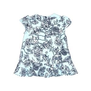 Vestido Infantil / Baby Em Alfaiataria Diagonal Com Lycra Estampado - Um Mais Um Azul Claro